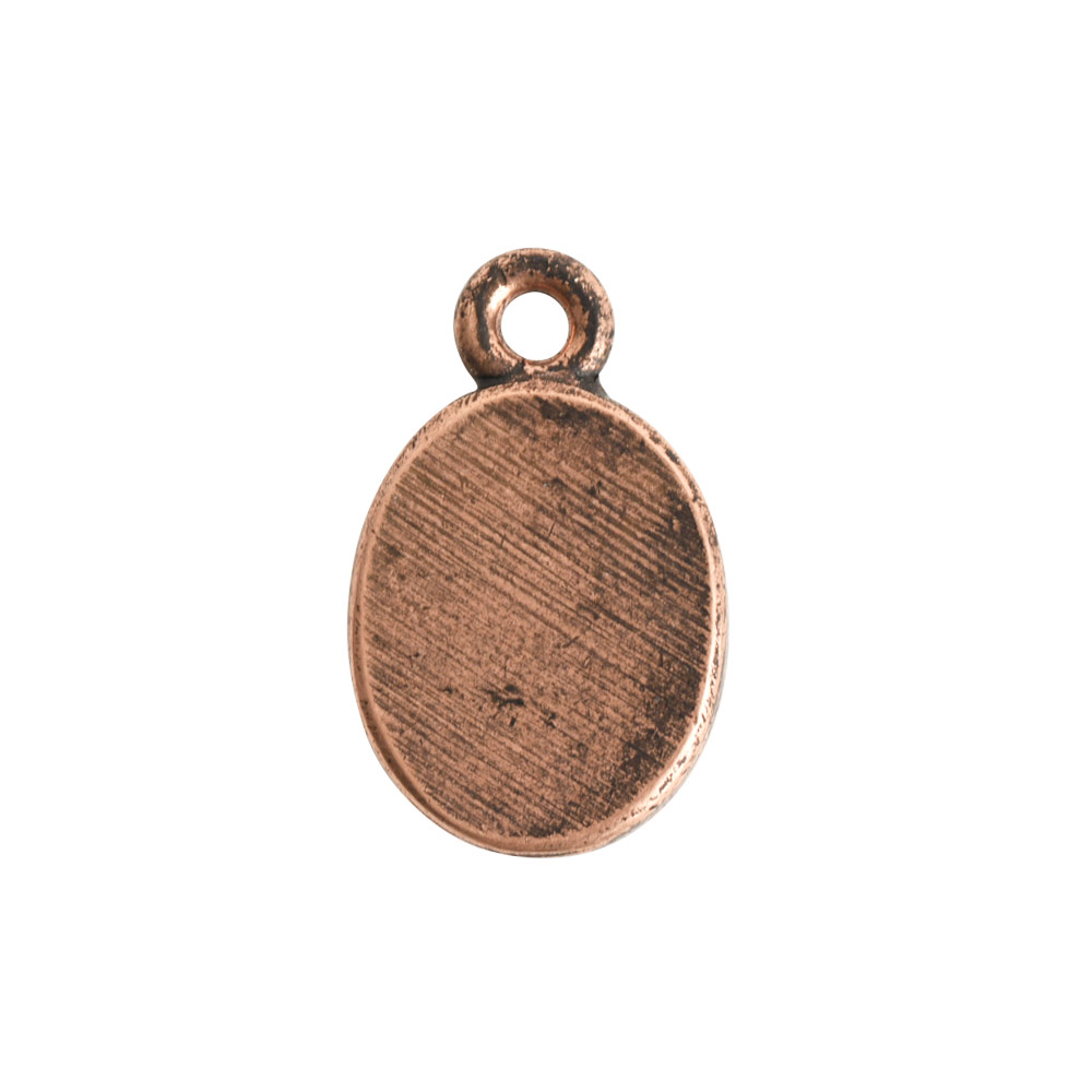 Ornate Flat Tag Mini OvalAntique Copper