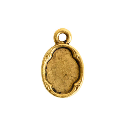 Ornate Flat Tag Mini Oval<br>Antique Gold 1