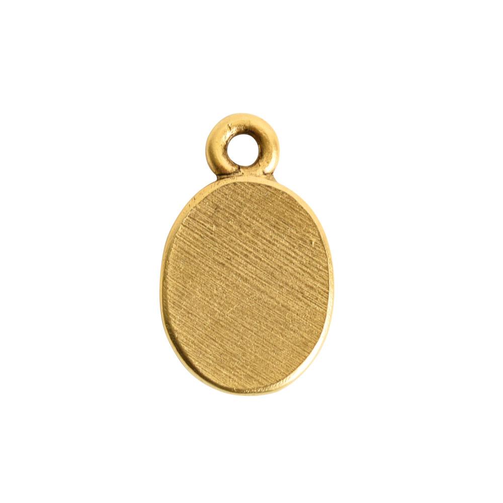 Ornate Flat Tag Mini OvalAntique Gold