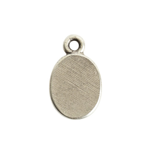 Ornate Flat Tag Mini OvalAntique Silver
