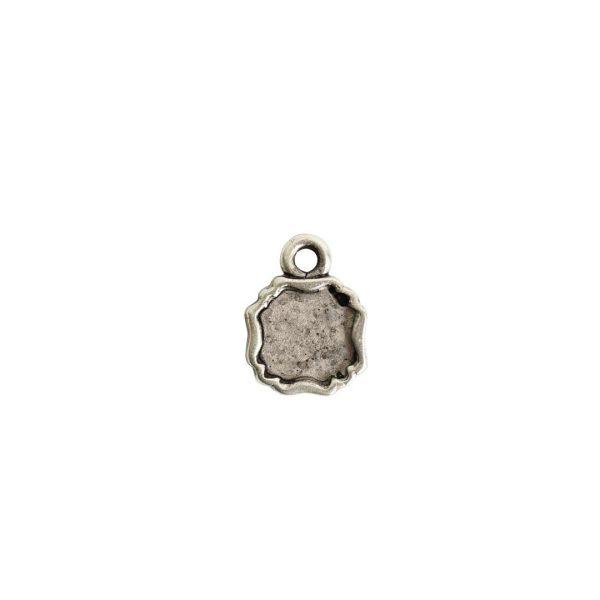 Ornate Flat Tag Mini SquareAntique Silver