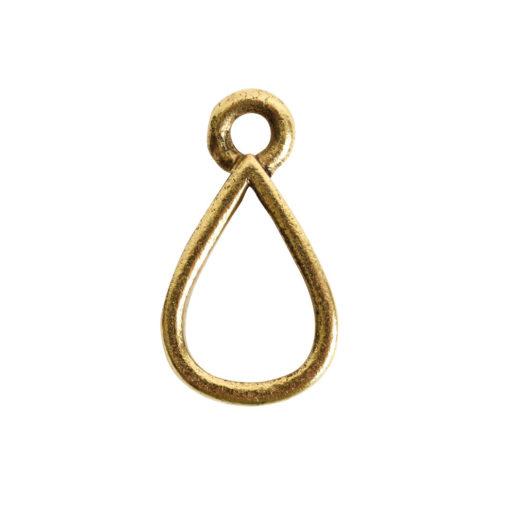 Open Pendant Small Drop Single Loop<br>Antique Gold 1