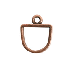 Open Pendant Small Half Oval Single LoopAntique Copper