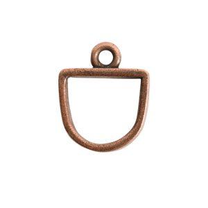 Open Pendant Small Half Oval Single LoopAntique Copper