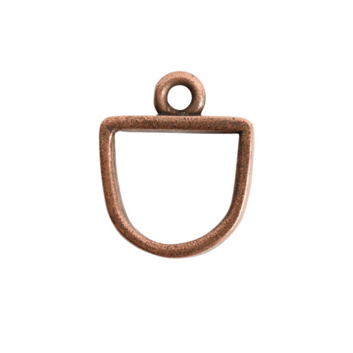 Open Pendant Small Half Oval Single Loop<br>Antique Copper 1