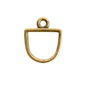 Open Pendant Small Half Oval Single LoopAntique Gold