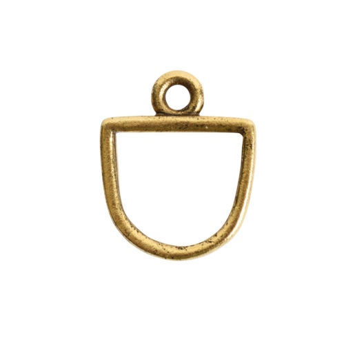 Open Pendant Small Half Oval Single Loop<br>Antique Gold 1