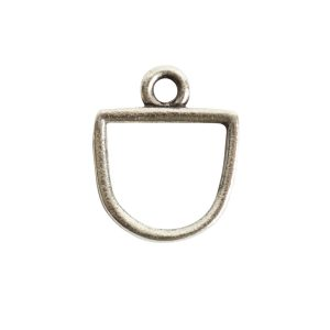 Open Pendant Small Half Oval Single LoopAntique Silver
