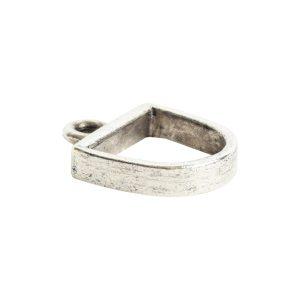 Open Pendant Small Half Oval Single LoopAntique Silver