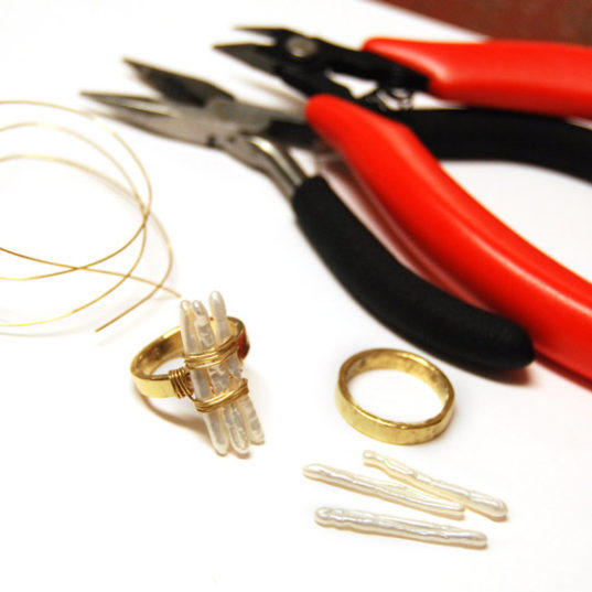 Stick Pearl WIre Wrap Ring Kit