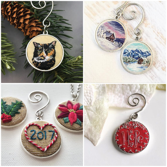 This round of creativity was handmade by a great group of embroidery  artists using the latest collection of Ornament ... - Embroidery Holiday Ornaments Inspiration! - Nunn Design