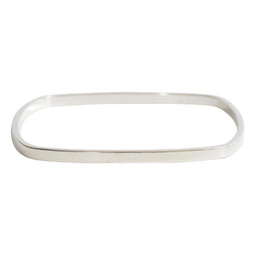Bangle Bracelet Square Flat LargeSterling Silver Plate
