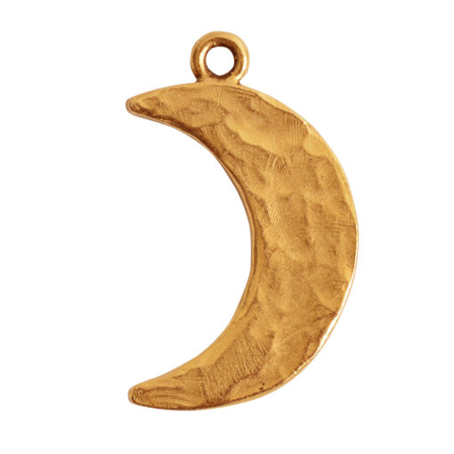 Charm Hammered Crescent Moon LargeAntique Gold