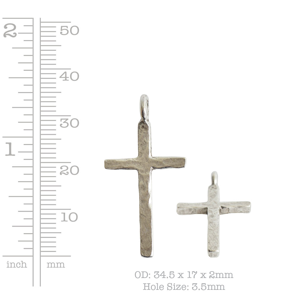 Charm Hammered Traditional Cross LargeAntique Gold