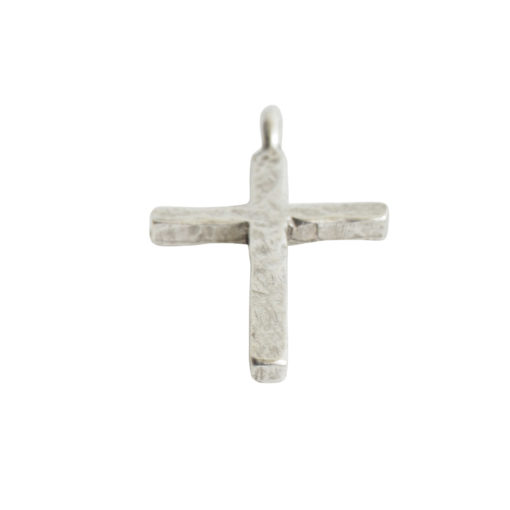 Charm Hammered Traditional Cross LargeAntique Silver