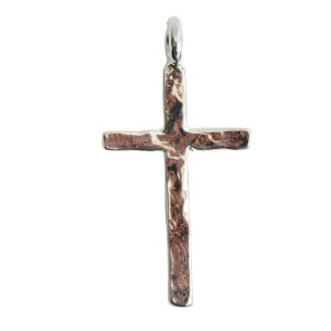Charm Hammered Traditional Cross LargeSterling Silver Plate