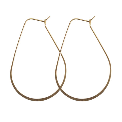 Ear Wire Hoop Oval Large<br>Antique Gold Nickel Free 1