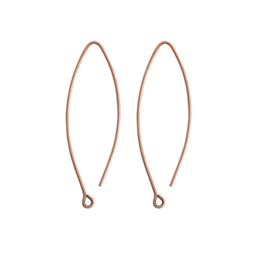 Ear Wire Open Oval Small<br>Antique Copper Nickel Free 1