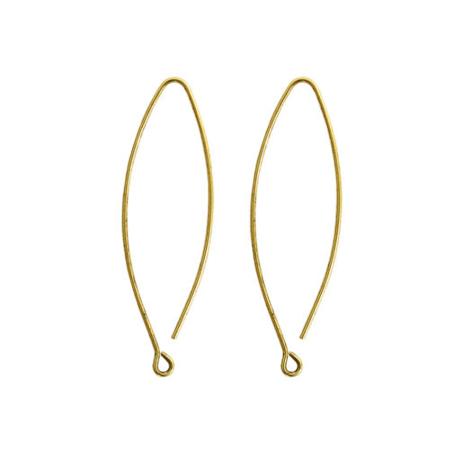 Ear Wire Open Oval Small<br>Antique Gold Nickel Free 1