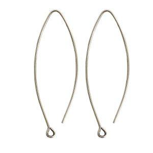 Ear Wire Open Oval SmallAntique Silver Nickel Free