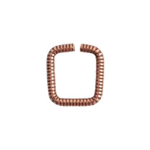 Jumpring 8mm Textured SquareAntique Copper