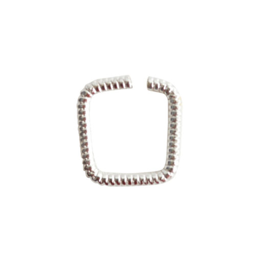 Jumpring 8mm Textured SquareSterling Silver Plate