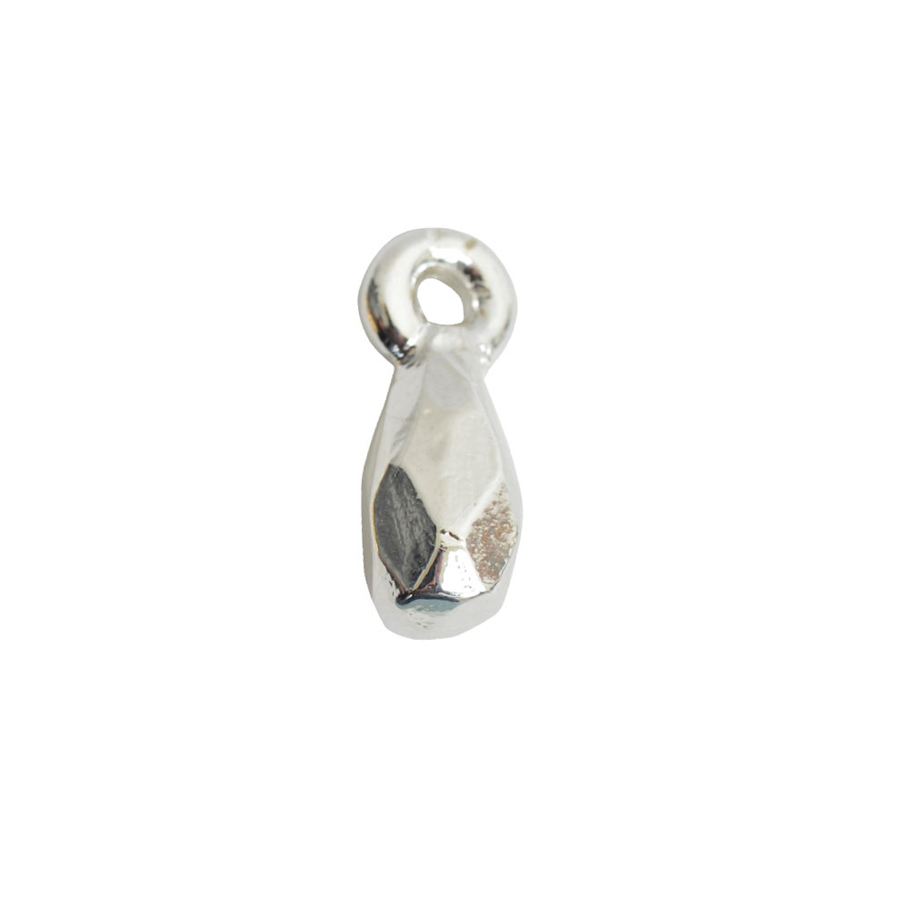 Metal Bead Faceted Drop Itsy Single LoopSterling Silver Plate