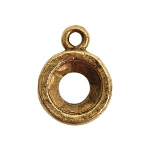 Open Back Bezel Circle 8mm Single LoopAntique Gold