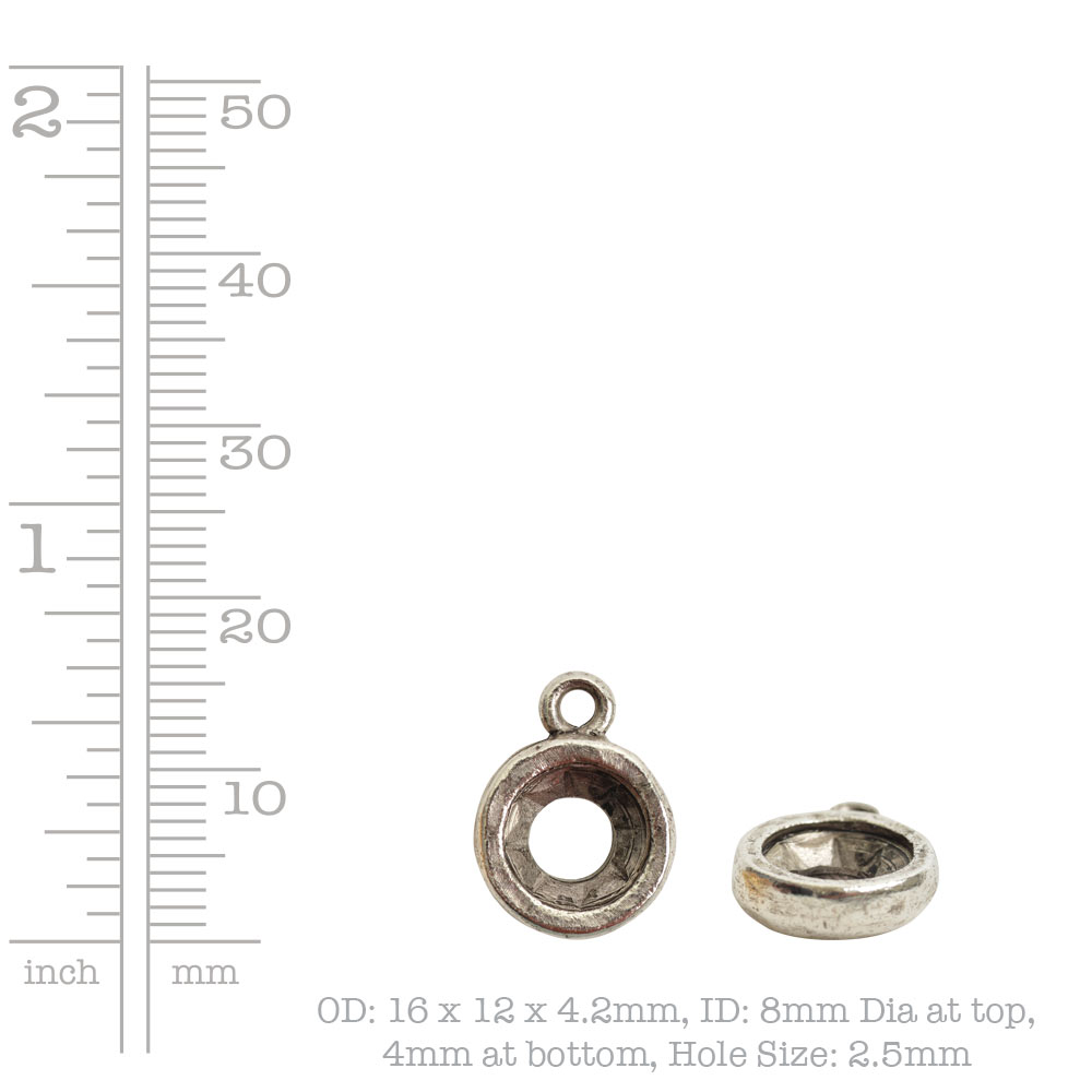 Open Back Bezel Circle 8mm Single LoopAntique Silver