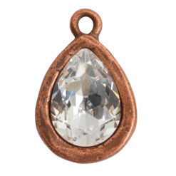 Open Back Bezel Pear 14mm Single LoopAntique Copper