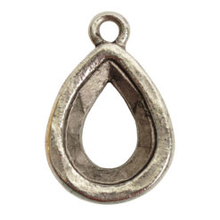 Open Back Bezel Pear 14mm Single LoopAntique Silver