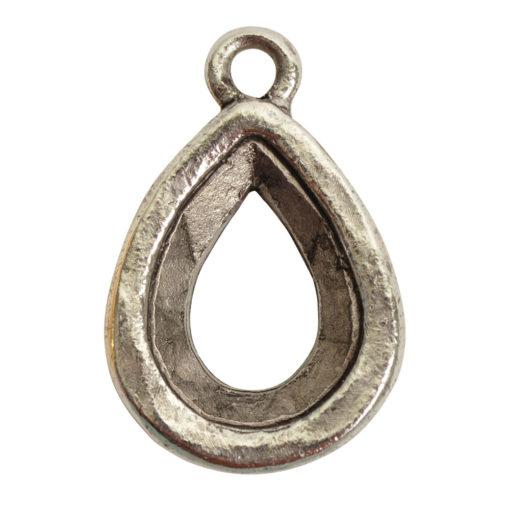 Open Back Bezel Pear 14mm Single LoopAntique Silver