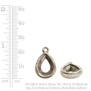 Open Back Bezel Pear 14mm Single Loop<br>Sterling Silver