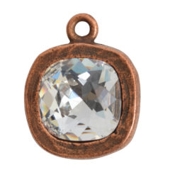 Open Back Bezel Square 12mm Single LoopAntique Copper