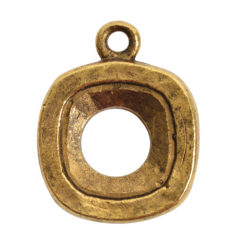 Open Back Bezel Square 12mm Single LoopAntique Gold