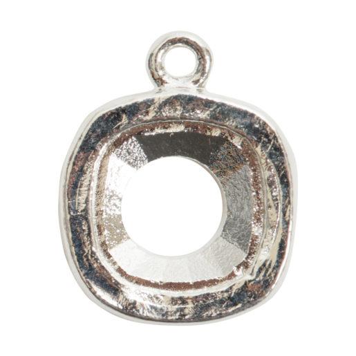 Open Back Bezel Square 12mm Single Loop<br>Sterling Silver 1