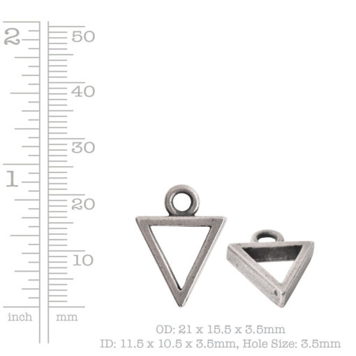 Open Pendant Triangle Mini Single LoopAntique Copper