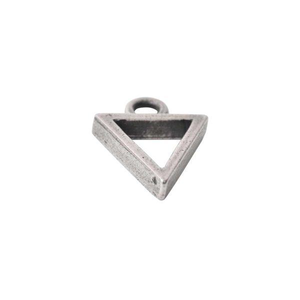Open Pendant Triangle Mini Single LoopAntique Silver