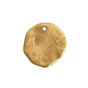 Organic Tag Circle Large Single Hole<br>Antique Gold