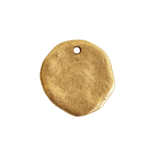 Organic Tag Circle Large Single Hole<br>Antique Gold 1