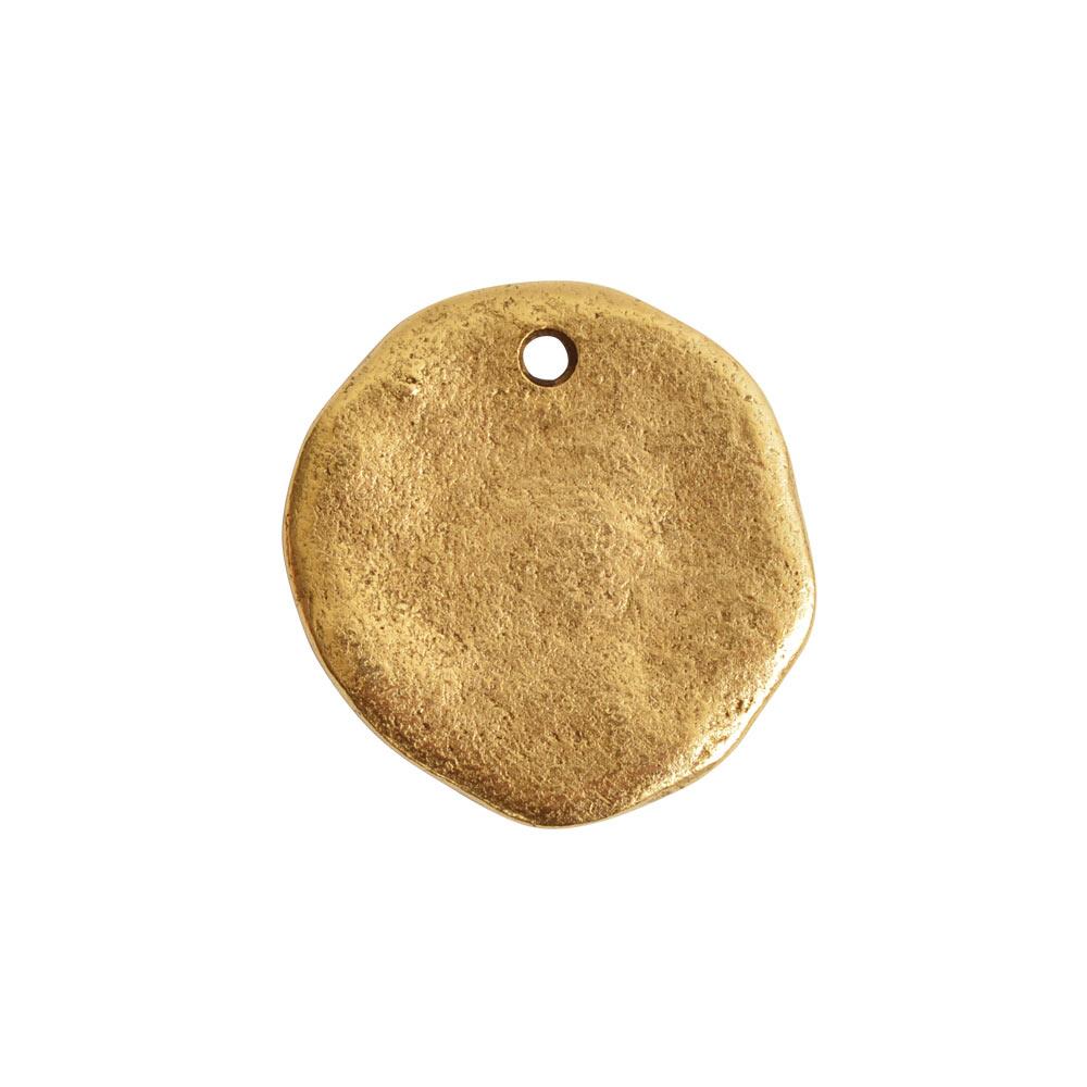 Organic Tag Circle Large Single HoleAntique Gold