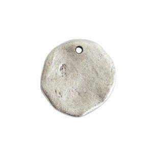 Organic Tag Circle Large Single Hole<br>Antique Silver