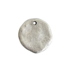 Organic Tag Circle Large Single HoleAntique Silver