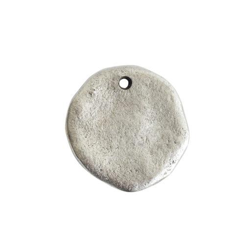 Organic Tag Circle Large Single Hole<br>Antique Silver 1