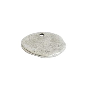 Organic Tag Circle Large Single HoleAntique Silver
