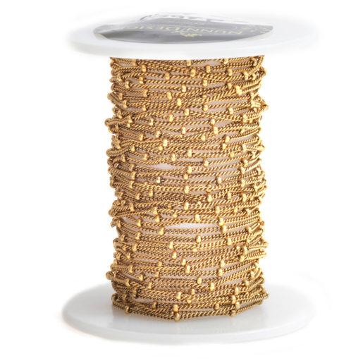 Satellite 2mm Bead Chain<br>Antique Gold 1