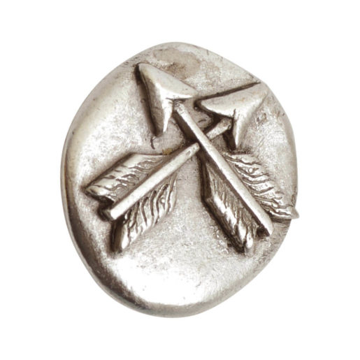 Button Organic Crossed Arrows Round Small<br>Antique Silver 1