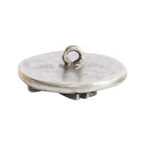 Button Organic Lotus Round SmallAntique Silver