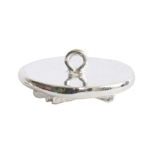 Button Organic Lotus Round SmallSterling Silver Plate