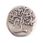 Button Organic Tree of Life Round SmallAntique Silver